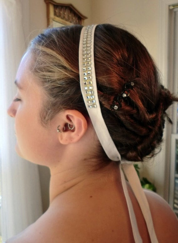 Bridal Sparkling Square Rhinestone and Silk Hairband