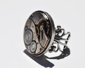 Steampunk Ring -Vintage Elgin 1921 Movement 00102