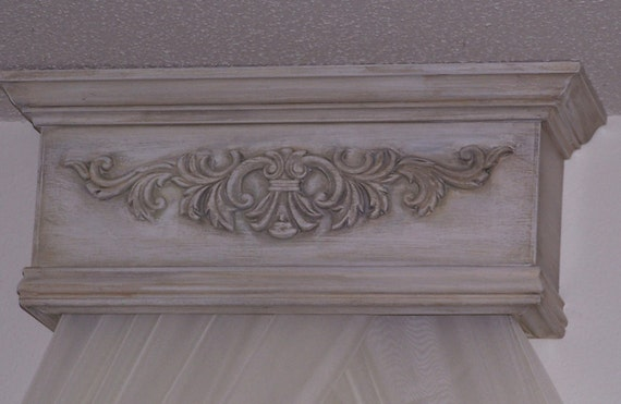 Shabby French Distressed Bed Canopy Cornice - Made to order