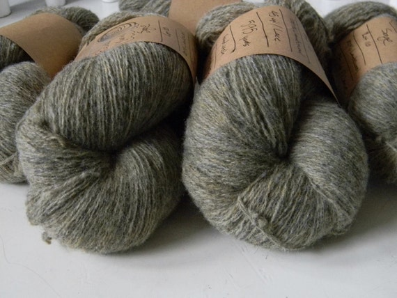 50% OFF - - - Sage Green Tweed Lambswool Recycled Yarn -  Super Fine Lace - 275yards