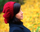 Scarlet Red Warm and Soft Knitted Beret Slouch (Made to Order)
