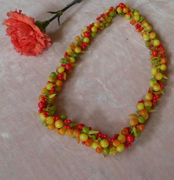 1950s Fruit Salad Beads Necklace Kitschy Vintage Antique Carmen Miranda West Germany Mid Century