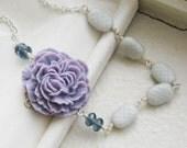 purple peony . necklace