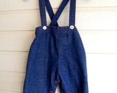 SALE vintage baby suspender pants denim