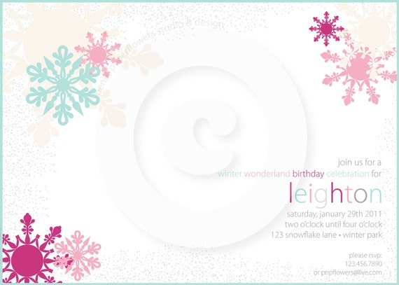 P.I.Y. (print-it-yourself) 5x7 Invitation - Winter Wonderland Collection