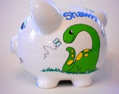 Personalized Ceramic Piggy Bank Dinosaurs