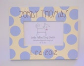 Personalized Birth or Baptism Picture Frame with Lavender Cream and Brown
