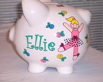 Piggy Bank Dancing Ballerina Girl Personalized