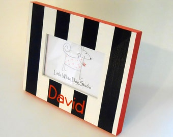 Personalized Picture Frame Black and White Stripes Hand Painted