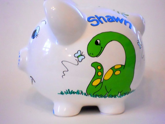 Personalized ceramic piggy bank dinosaurs - Dinosaur piggy banks ...