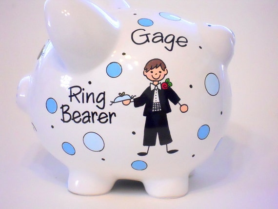 Wedding Gifts For Ring Bearer : Ring Bearer Gift for Wedding Piggy Bank Personalized