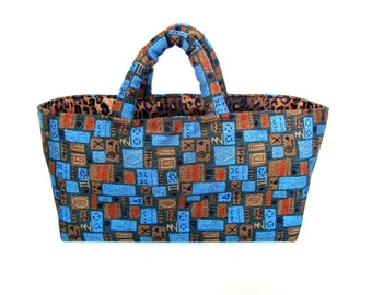 Knitting  Project Bag  Sock Knitters Tote Blue Brown Upholstery Bag Small Faux Animal Print Lining Knitting Storage Organizer