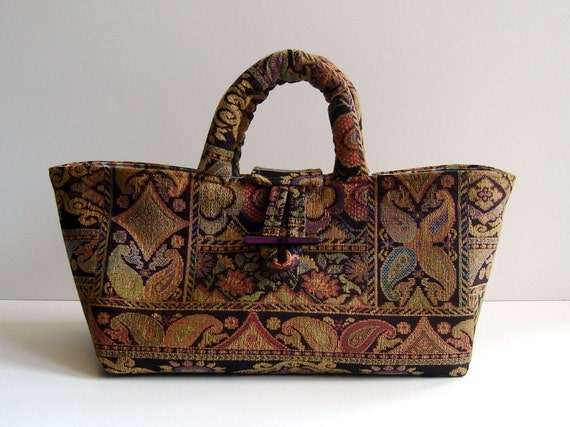 Small Knitting Bag, Sock Knitters' Tote,  Brown Upholstery Tapestry