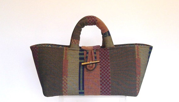 Knitters Project Bag  Small Graphic Stripe Upholstery Tote