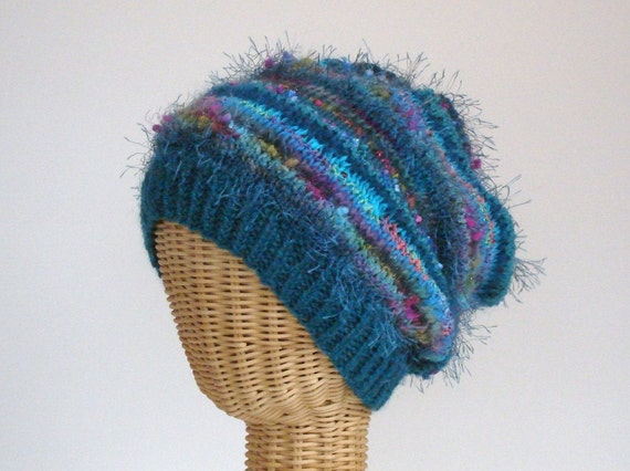 Hat Hand Knit Womans Slouchy Teal Wool Mohair Stocking Cap