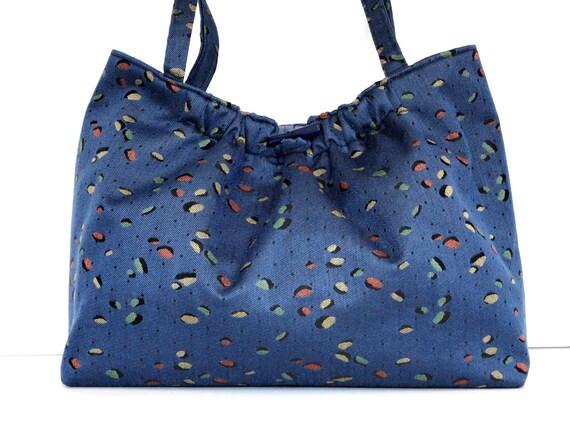 Project Bag Knitting Bag Blue Upholstery Tote Bag