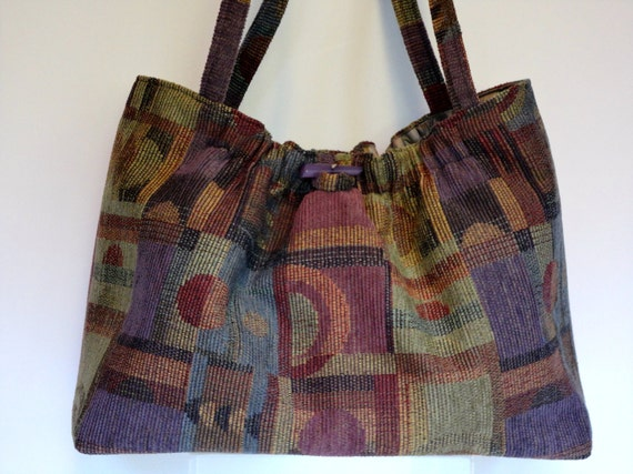 Knitting Tote Bag Violet Geometrics Knitting Project Bag