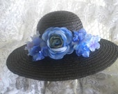 Kentucky Derby Hat -black straw - vivid blue flowers -OOAK -church -wedding-garden party hat