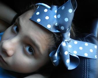 Gray and White Polka Dot Headband
