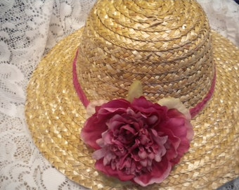 Lovely straw hat with raspberry flower for women -sun hat -Shabby chic style  straw hat for ladies-