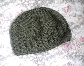 Crochet hat in Olive green- Versatile color and style -any occasion - olive beanie hat for girls