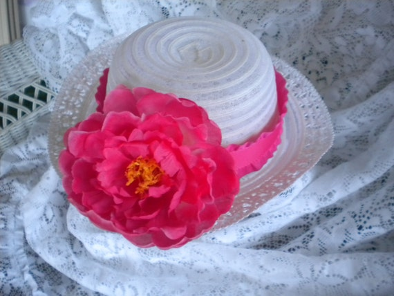 Baby derby hat-church hat -Lovely white hat with fuchsia pink ribbon and Peony flower -fits infants-Custom orders