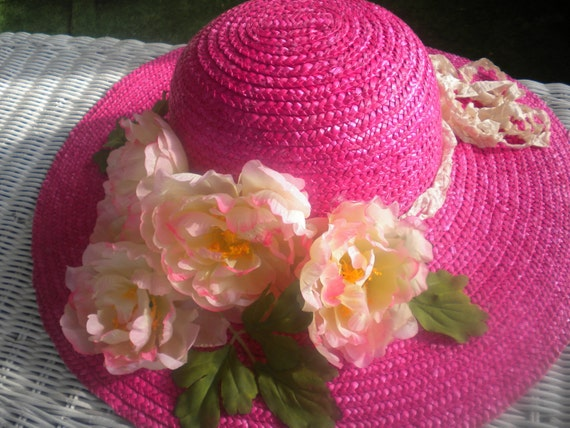Kentucky Derby hat for women -Hot pink Derby hat-Church Hat -Tea Party Hat -Wedding hat -OOAK