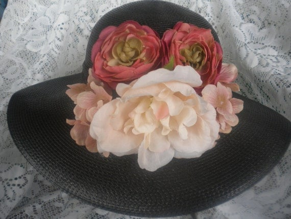Black Kentucky Derby hat OOAK -Derby hat-Womens church hat-floral hat-Women's finer quality hat