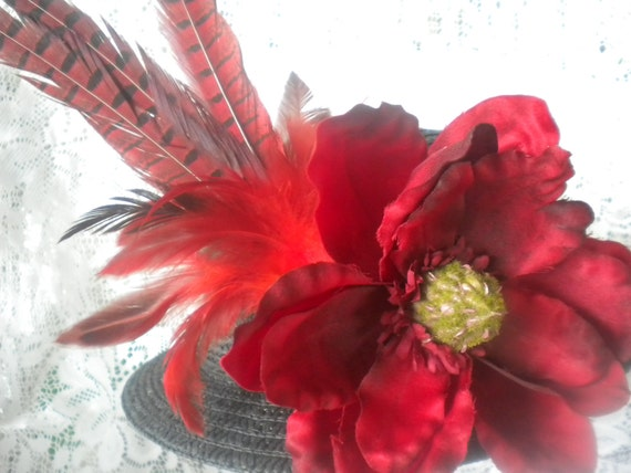 Black hat for women -ladies hat with red flower and feathers -womens derby hat -dress hats