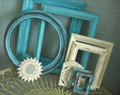 HOLD For Lauren --- Sweet lot of antiqued frames, in shabby antique white and turquoise, with small mirror, shabby chic, urban eclectic, beach cottage