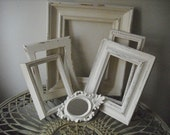 Nice lot of antiqued, distressed frames with mini ornate mirror, in shabby antique white, aged to perfection, shabby chic, Victorian, French country, beach cottage