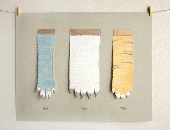 Animal hands - original - glow in the dark - wolf, bear, tiger - 11x14
