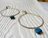 Handmade Lapis and Sterling Silver Large Hoop Drop Earrings - Peru -