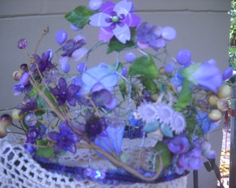 Enchanted Garden Crown purple and lavender flowers bridal shower or tea party