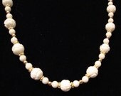 White Agate and Carved White Coral 14K Gold Filled Necklace