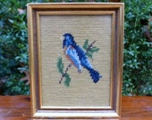Vintage Blue Jay Handmade Needlepoint Wall Hanging