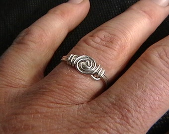 Pure silver wire wrap ring (Any Size)