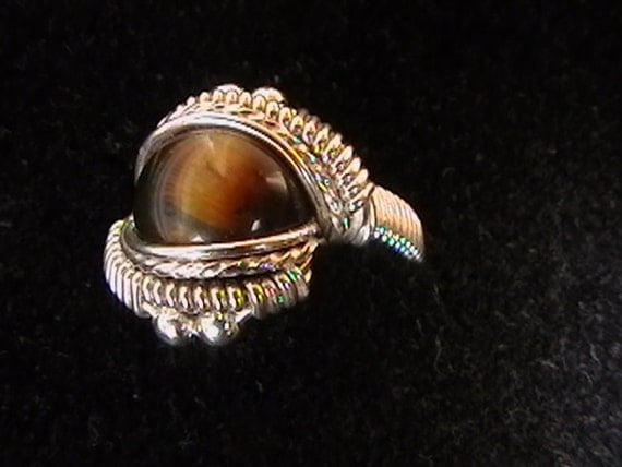 Tigers eye sterling silver ring ANY SIZE