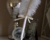 Ivory Feather Pen & Holder