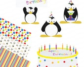 Birthday Penguins Clip Art Package with Seamless Patterns for Digital Scrapbooking