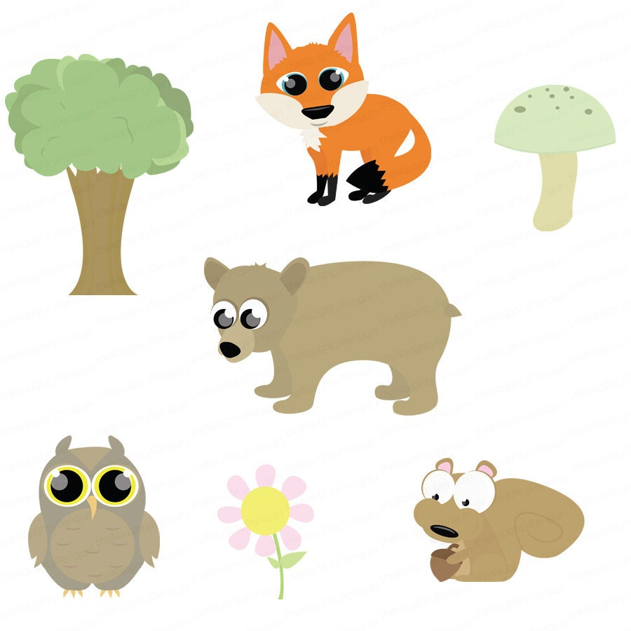 clipart forest animals clip animal digital scrapbooking package woodland cartoon rainforest baby instant cute cliparts