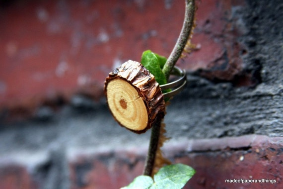 Wood Ring Tree Branch Slice Adjustable Ring