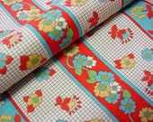 Vintage 60s 70s Fabric - Lovely Stylized Floral Stripe - Red, Yelloe, Robin Egg Blue