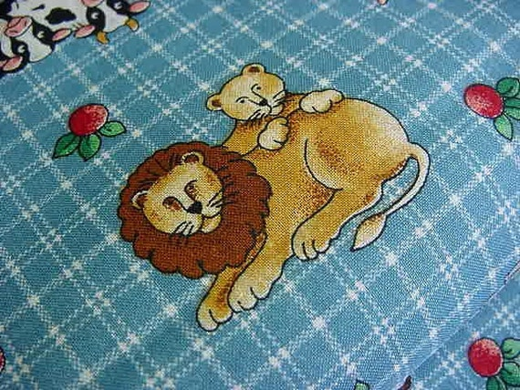 Noah's Ark Fabric - 2 by 2 Animals on Blue Checks
