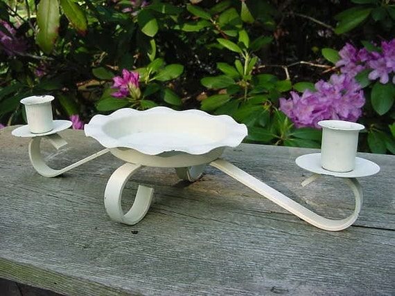 Shabby Cottage Chic Vintage Candle Holder  - White Chippy Metal Tole