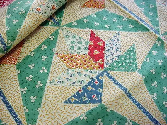 Vintage 30s Cotton Cheater Quilt Fabric The By