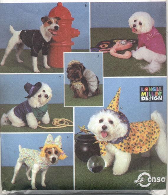 Designer Doggie Outfits - Simplicity Pattern 9884 - Dog Coat Hat Cape Bows Costumes - Size S/M - UNCUT