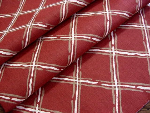 BARGAIN SALE - 5 Yards Vintage Decorator Fabric - 60s, 70s Windowpane Plaid in Deep Red, Gold, Ivory