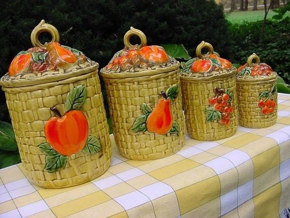 Vintage Lefton Canister Set 5254 - Harvest Fruit on Basket Weave - Mod Red Orange Yellow Gold -TREASURY ITEM