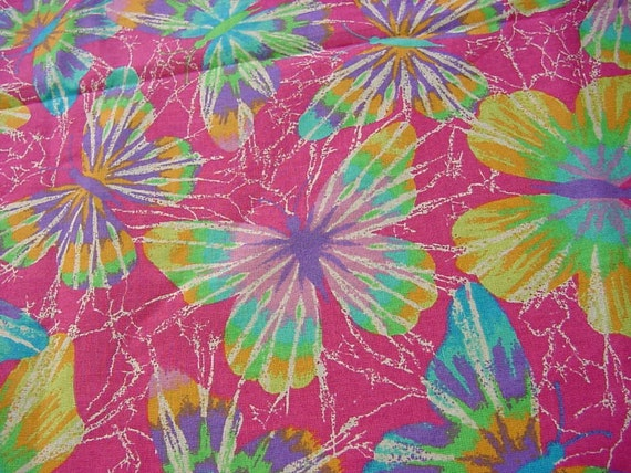 Rainbow Hot Butterflies 2538 - Bright Vintage Fabric 1.5 yd
